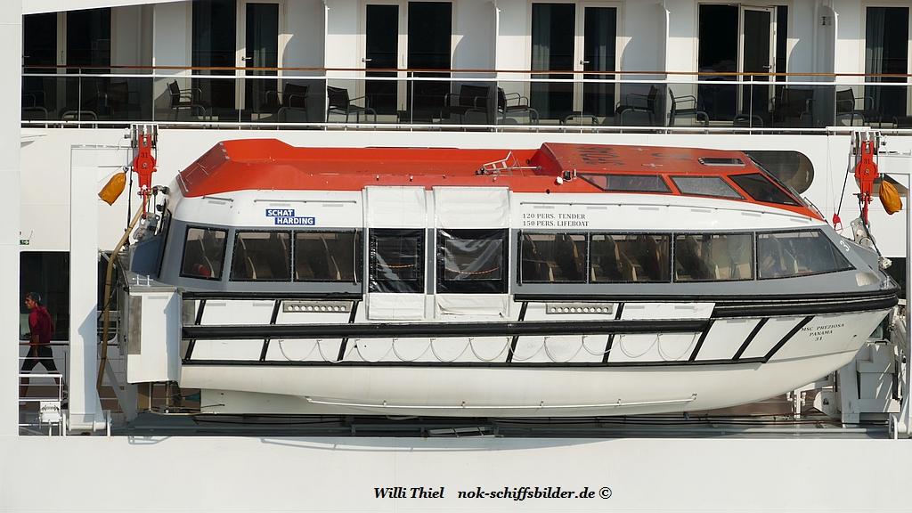 MSC PREZIOSA - Rettungs-Ausflugsboot